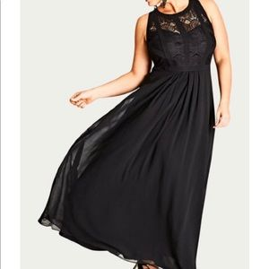 City Chic Long Dress with Lace Bodice/T-strap back